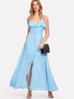 Ruffle Trim Button Up Cami Dress