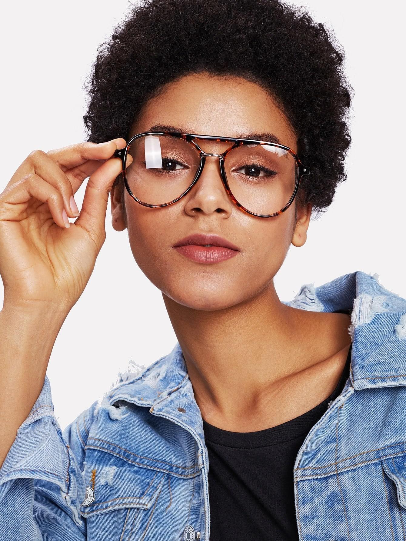 Double Bridge Leopard Frame Glasses