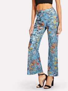 Wide Leg Floral Velvet Pants
