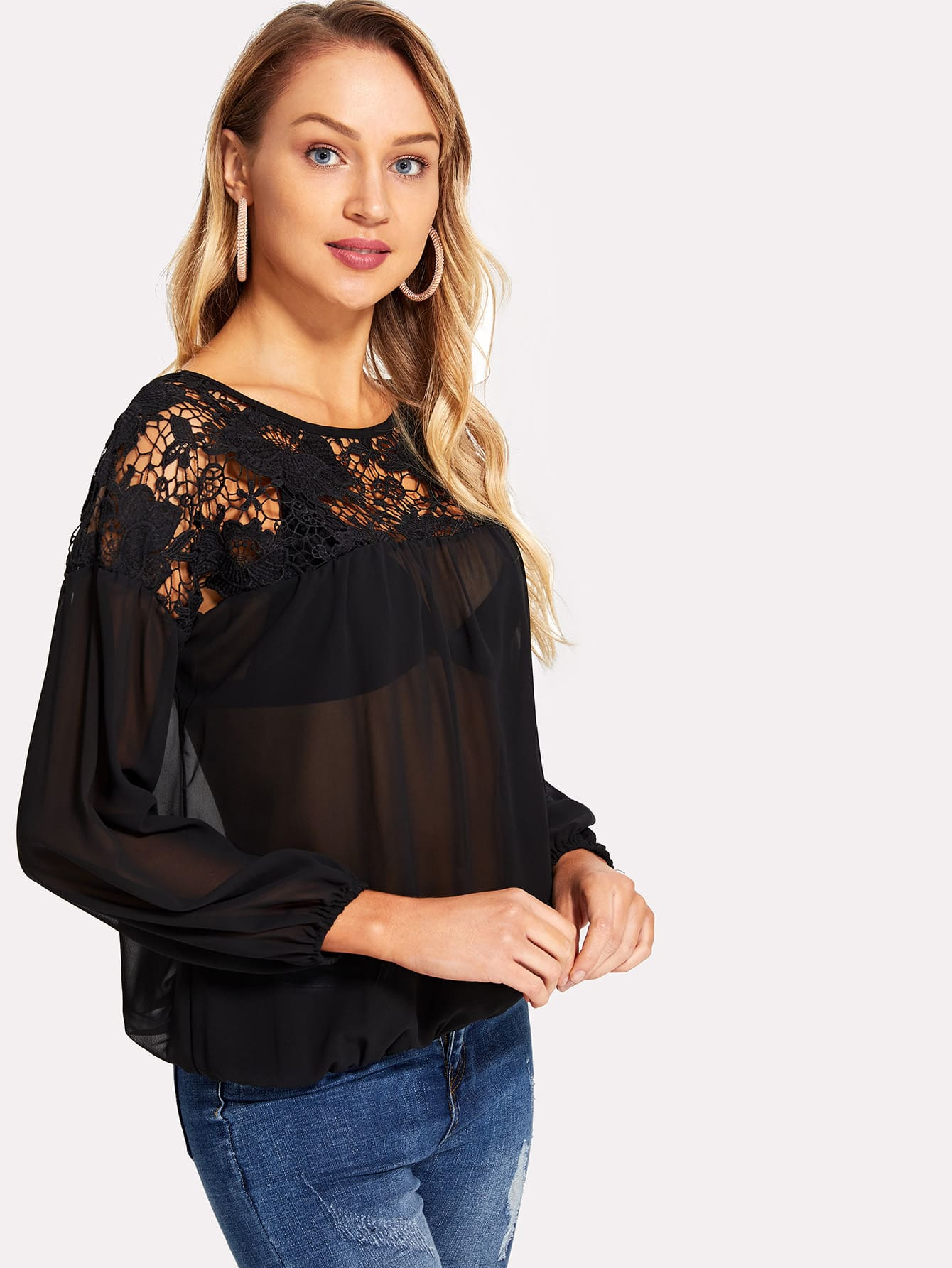 Lace Yoke Sheer Blouson Top lace panel yoke top