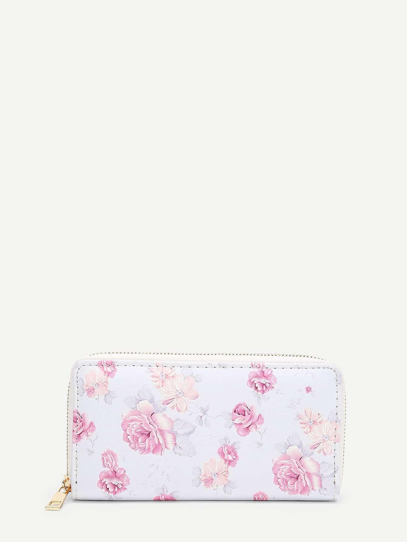 Купить Модное кожаное портмоне с цветочным принтом, null, SheIn