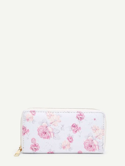 Flower Print PU Purse