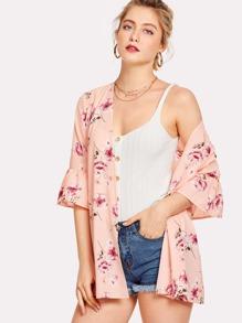 Floral Print Flounce Sleeve Kimono