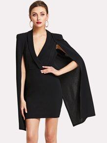 Cloak Sleeve  Surplice Dress