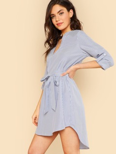 Self Belted Dip Hem Striped Dress