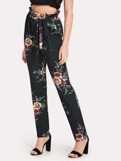 Self Belted Frill Detail Floral Pants
