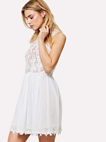 Floral Lace Bodice Swing Dress