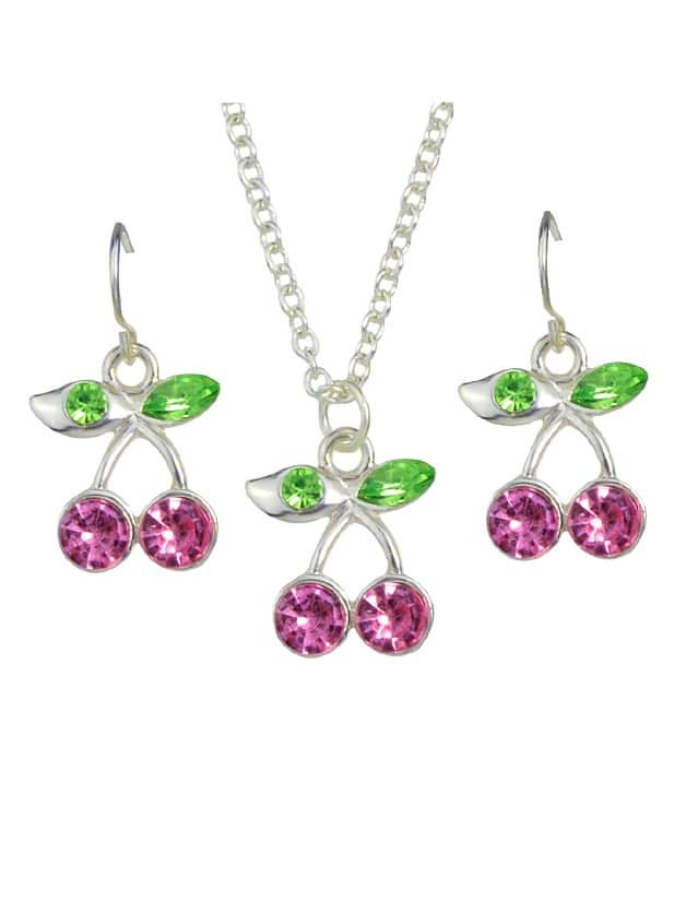 Jewelry Set Cherry  Necklace And Earrings
