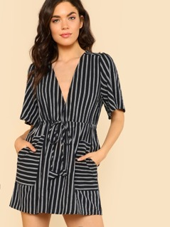 Dual Pocket Striped Drawstring Waist Shirt Dress BLACK WHITE