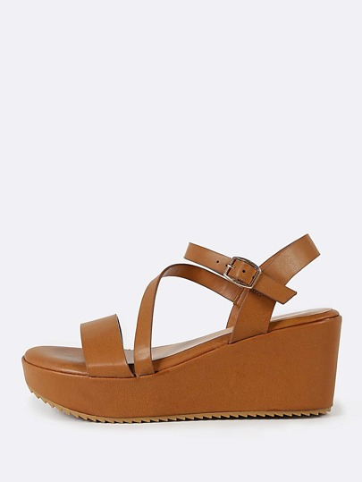 Cross Strap Ankle Band Wedge Sandal CAMEL