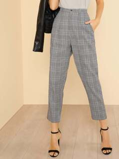 Glen Plaid High Waisted Pants BLACK