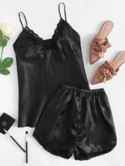 Lace Detail Cami And Shorts Pajama Set