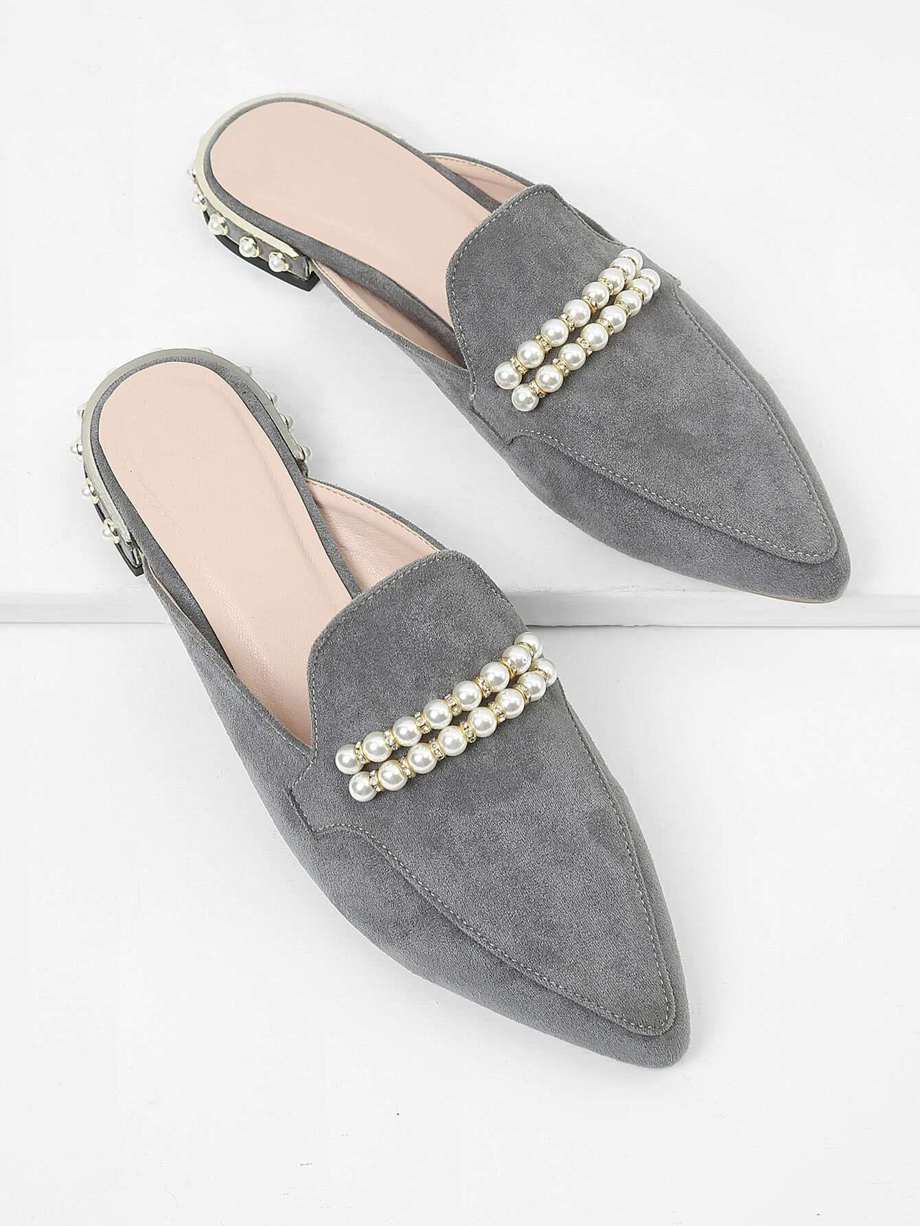 Faux Pearl Pointed Toe Flats pointed toe faux leather flats