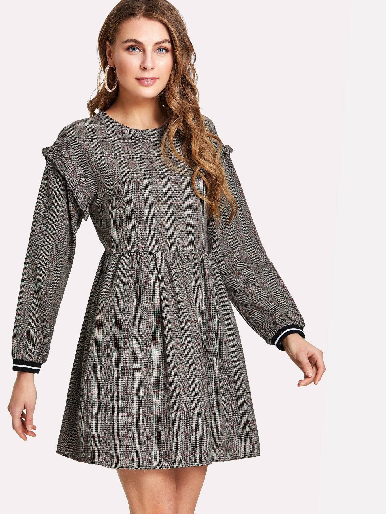 Frill Trim Striped Cuff Plaid Smock Dress open shoulder frill trim plaid dress