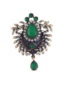 Green Bronze Rhinestone Flower Brooch