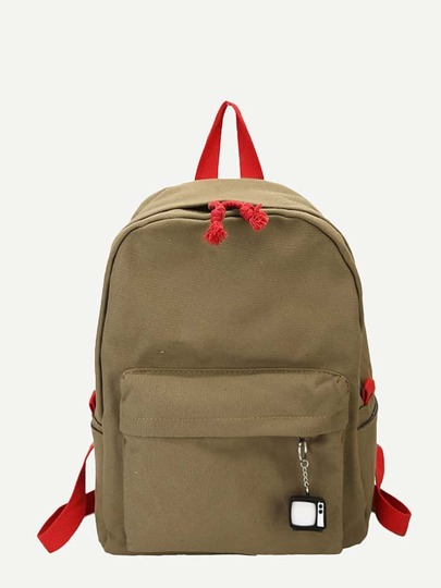 Charm Detail Canvas Backpack