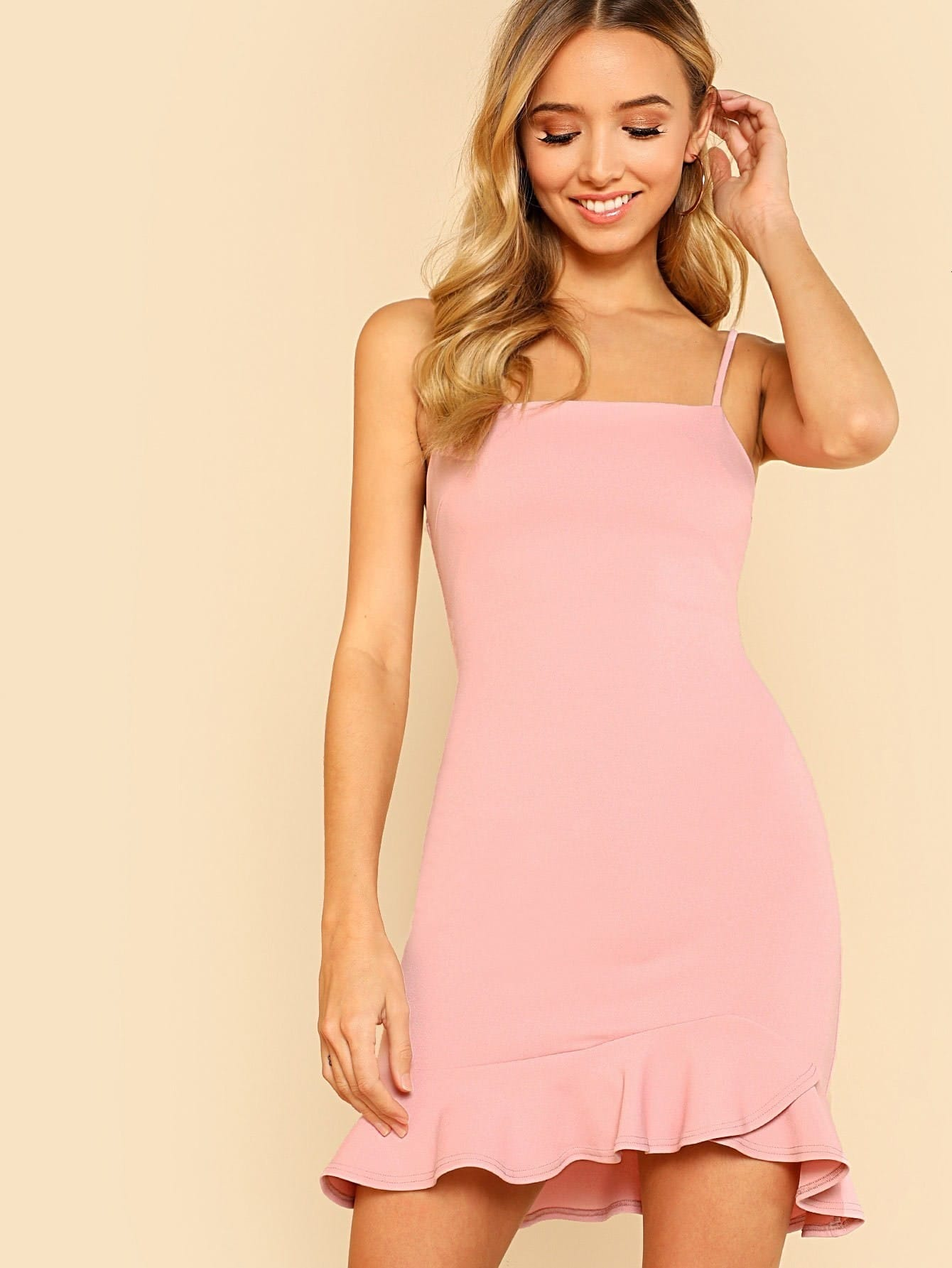 Ruffle Hem Open Back Cami Dress tied back ruffle hem tropical cami dress