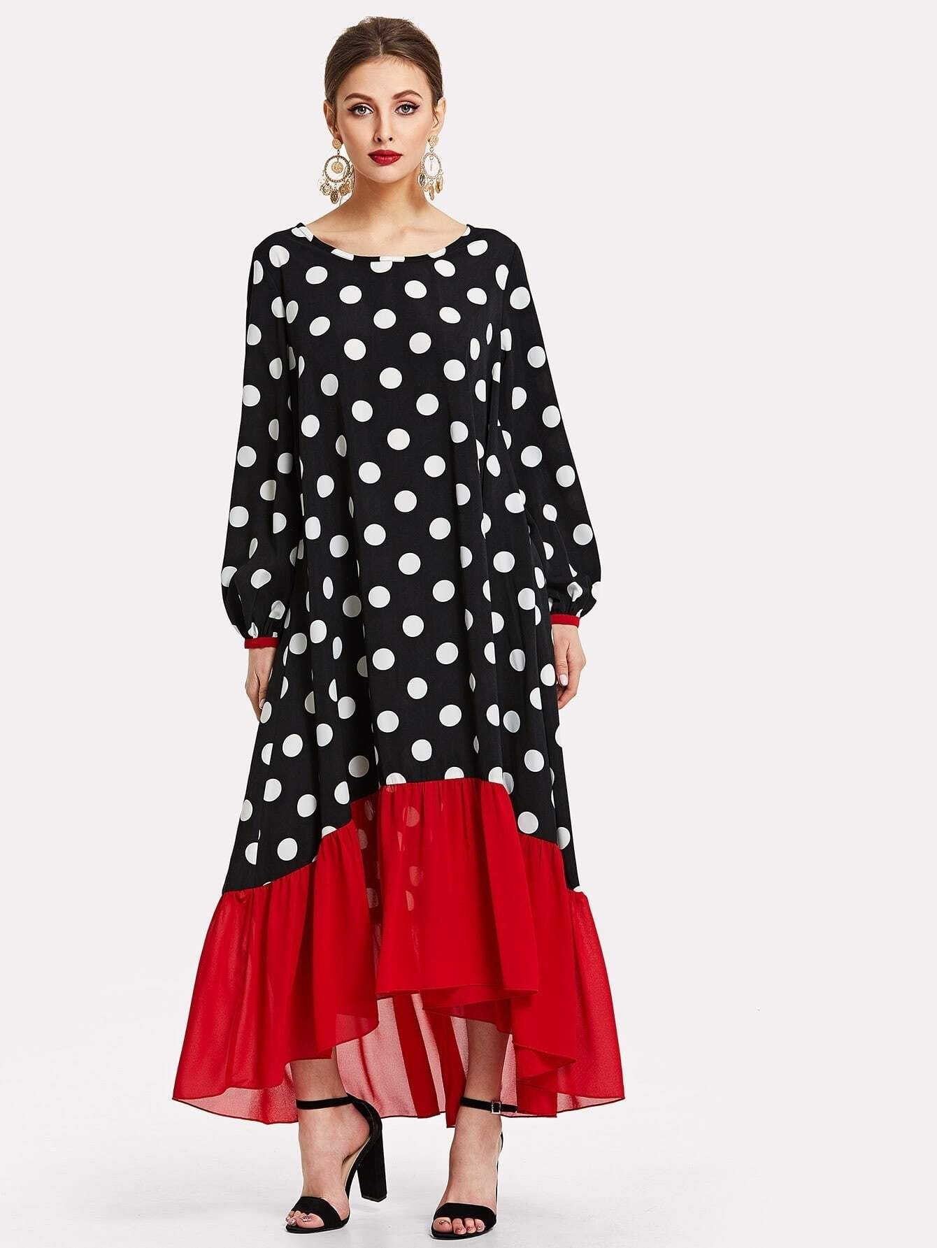 Contrast Ruffle Hem Polka Dot Hijab Long Dress polka dot slit hem contrast dress