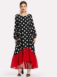 Contrast Ruffle Hem Polka Dot Hijab Long Dress
