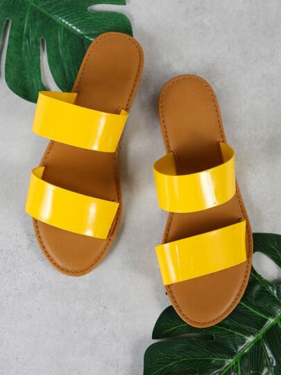 Patent Double Band Slide Sandal YELLOW