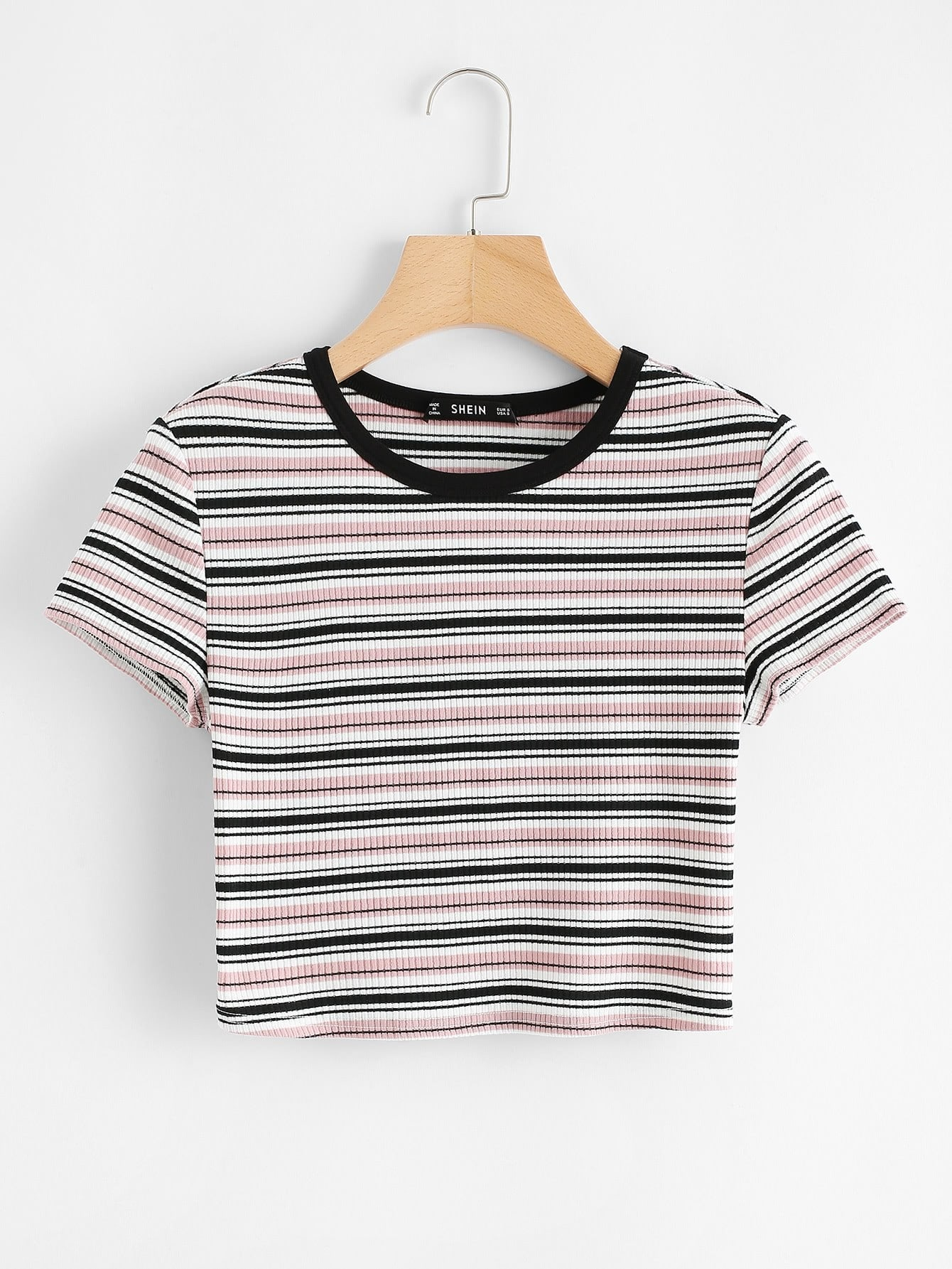 Contrast Tape Striped Print Ribbed Tee contrast trim ribbed tee with striped shorts