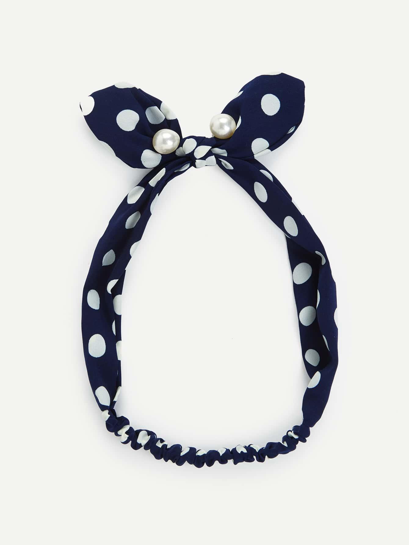 Faux Pearl Bow Knot Polka Dot Headband