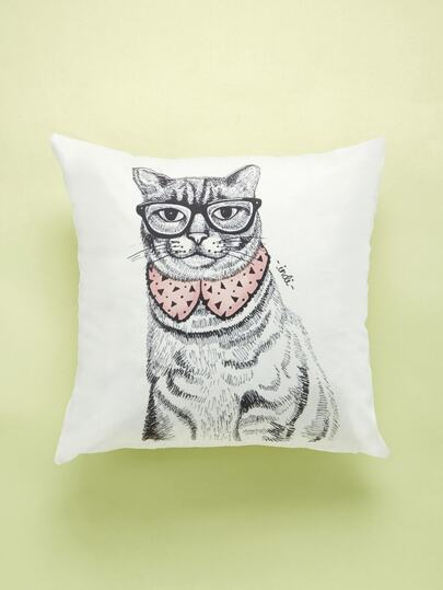 Cat With Glasses Print Cushion Cover