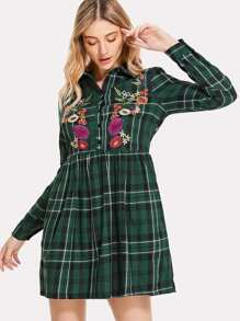 Half Placket Embroidered Check Smock Dress