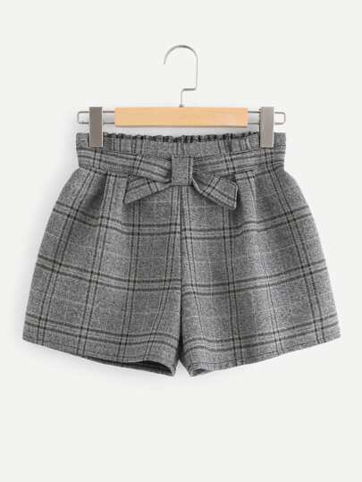 Elastic Waist Plaid Shorts