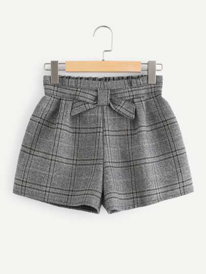 Plaid Shorts mit elastischer Taille