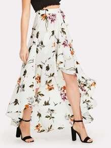 Floral Print Knot Side Asymmetrical Skirt