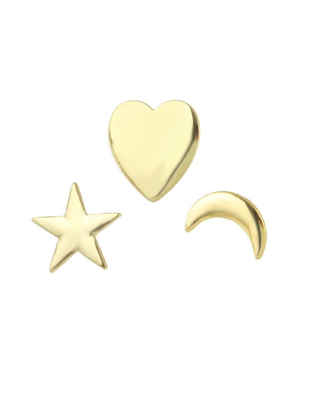 Moon Star Heart Shape Brooch 12 colors heart and star shape mixed