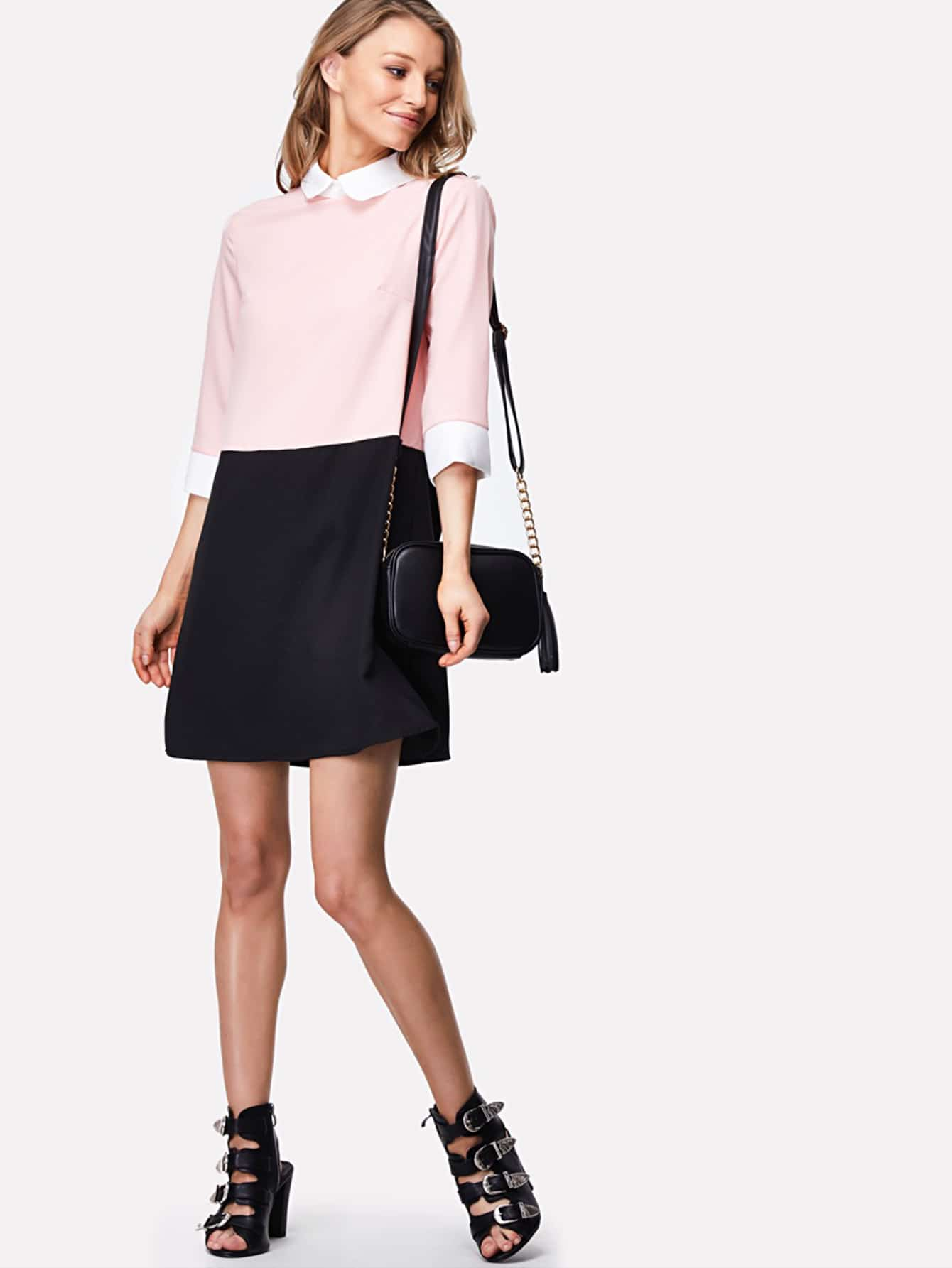 Contrast Collar And Cuff Color Block Dress lace collar and cuff tunic dress