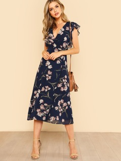 Floral Print Chiffon Wrap Dress with Ruffle Cap Sleeve NAVY FLORAL