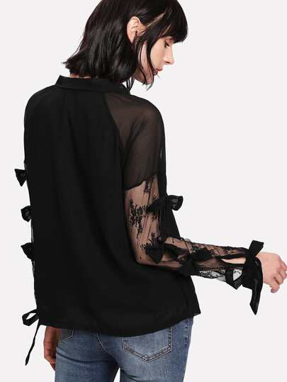 Lace Panel Bow Sleeve Top