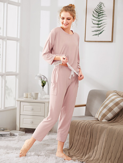 Contrast Lace Hem Tee & Pants PJ Set