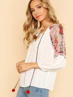 Embroidered Mesh Insert Pompom Tie Neck Top