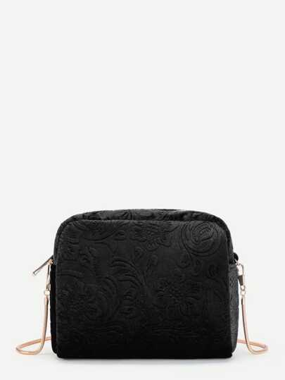 Floral Embossed Crossbody Chain Bag
