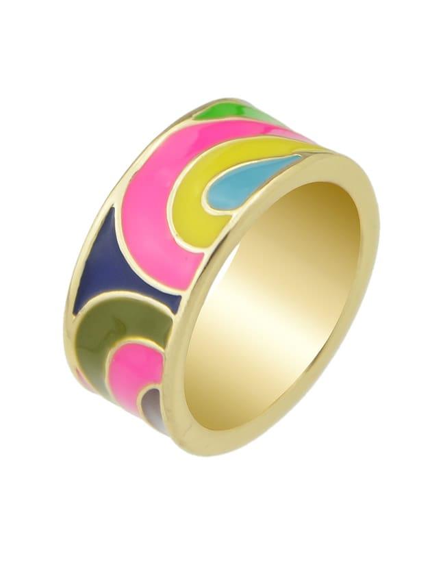 Hotpink-8 Geometric Pattern Finger  Rings 3pcs set hyperbole geometric circle v shape finger rings