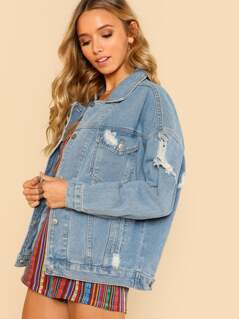 Light Wash Oversized Distressed Denim Jacket LIGHT BLUE