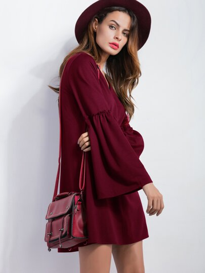 Burgundy V Neck Bell Sleeve Tunic Dress