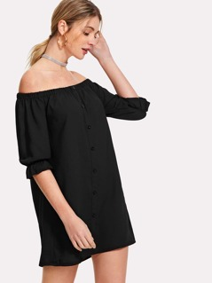 Button Up Bardot Dress