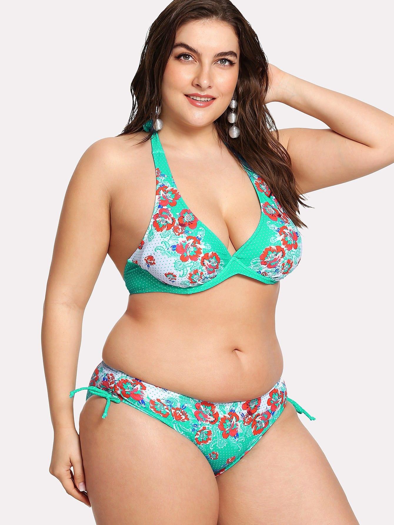 Plus Floral Polka Dot Bikini Set floral polka dot bikini set