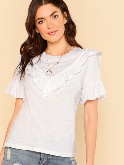 Ruffle Trim Short Sleeve Top OFF WHITE