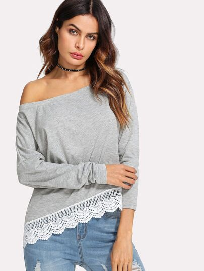 Lace Insert Asymmetrical Shoulder Tee