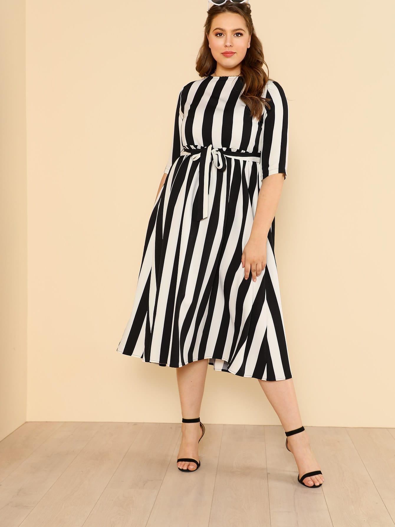 Купить Модное платье в полоску с поясом, Bailey Carr, SheIn