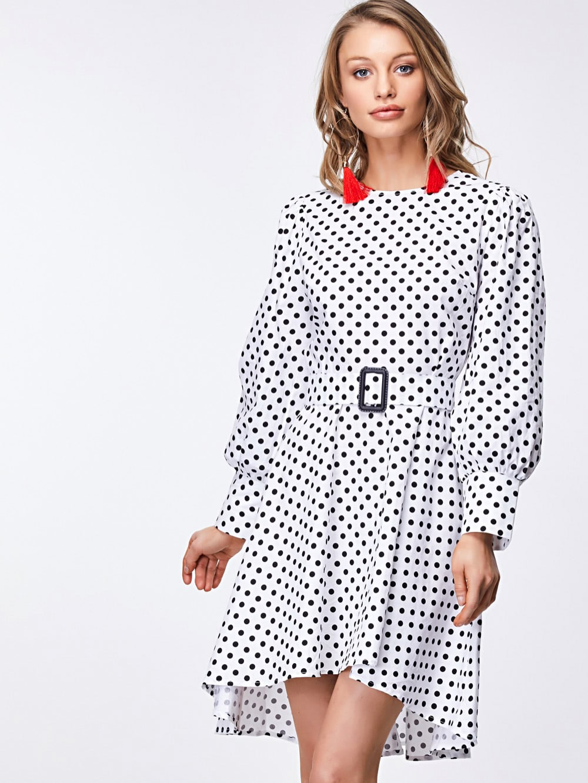 Bishop Sleeve Belted Polka Dot Dress блуза dorothy perkins dorothy perkins do005ewyla30