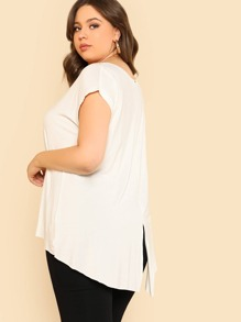 Roll Up Sleeve Split Back Dip Hem Tee