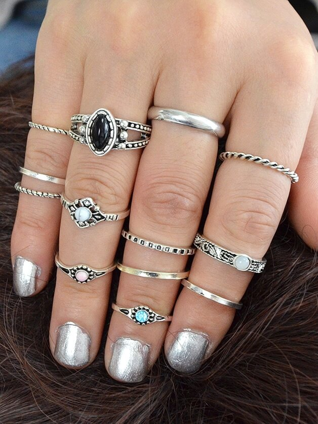 At-Silver 12Pcs/Set Knuckle Ring Stone Jewelry