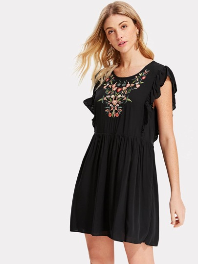 Embroidered Yoke Layered Ruffle Smock Dress